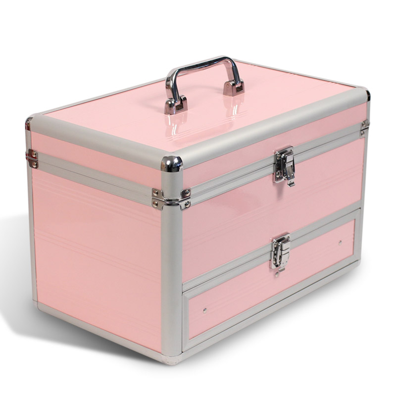 aluminium beautycase kosmetikkoffer schmuckfach rosa neu ebay. Black Bedroom Furniture Sets. Home Design Ideas
