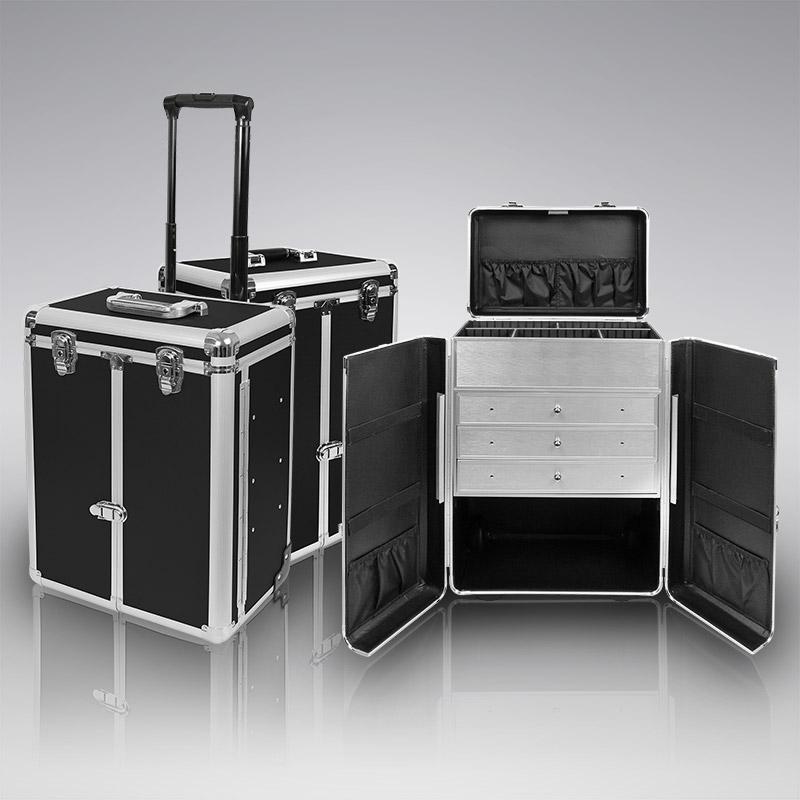 visagistenkoffer trolley pr sentationskoffer schwarz visagisten friseur koffer ebay. Black Bedroom Furniture Sets. Home Design Ideas