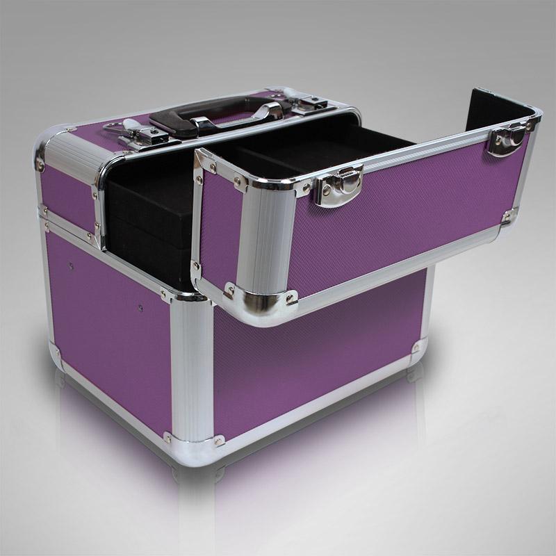 kosmetikkoffer xl alu rahmenkoffer multikoffer beauty case nagelstudio in lila ebay. Black Bedroom Furniture Sets. Home Design Ideas
