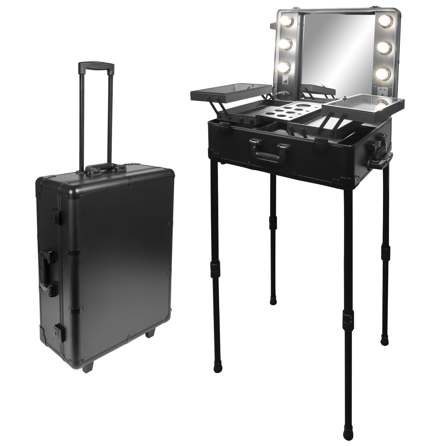 visagisten friseur kosmetik koffer trolley beleuchtung mobilesbeauty studio. Black Bedroom Furniture Sets. Home Design Ideas