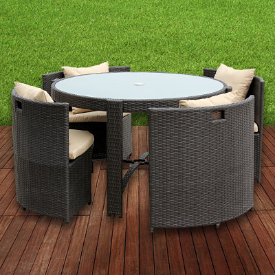 garten garnitur poly rattan alu sitzgruppe braun 125cm tisch st hle husse rund ebay. Black Bedroom Furniture Sets. Home Design Ideas