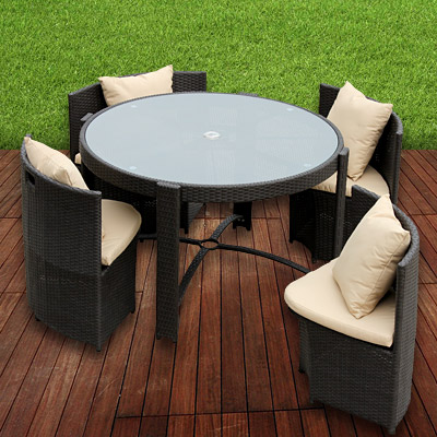 garten garnitur poly rattan alu sitzgruppe braun 125cm. Black Bedroom Furniture Sets. Home Design Ideas