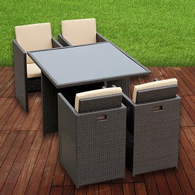 eckige garten garnitur polyrattan alu sitzgruppe braun 1 tisch 4 st hle zubeh r ebay. Black Bedroom Furniture Sets. Home Design Ideas