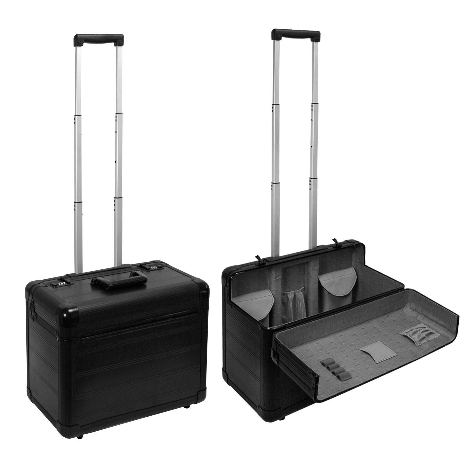 pilotenkoffer rollen aktenkoffer business trolley schwarz ca 48 x 36 x 25 cm ebay. Black Bedroom Furniture Sets. Home Design Ideas