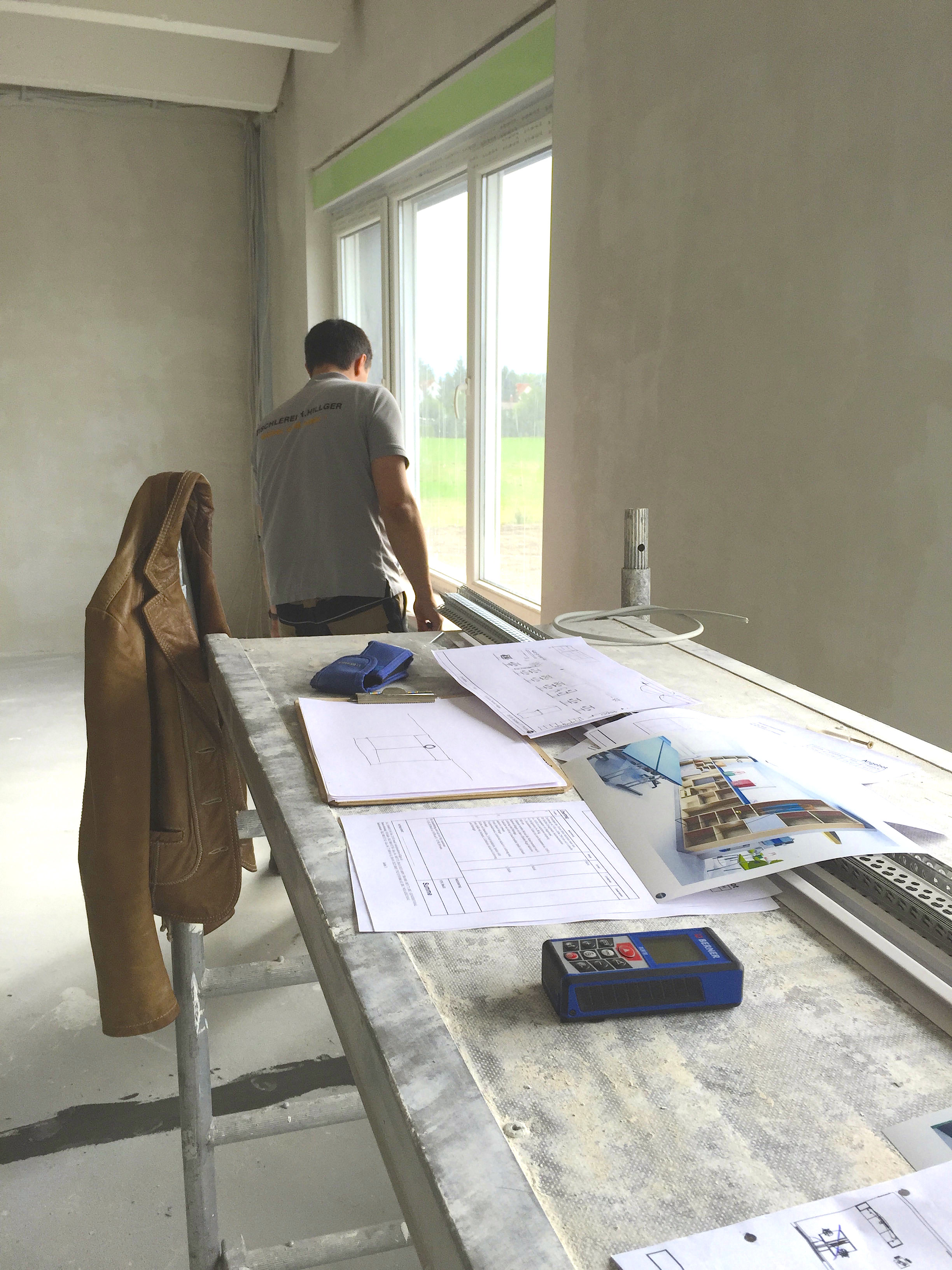 Vermessung, Ausmessung, Tischlerei, Tischlerei Hillger, Entwurf, Büroentwurf, Entwürfe